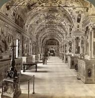 Italie Rome Vatican La Bibliotheque Interieur Ancienne Photo Stereo Underwood 1900 - Stereoscopic
