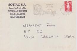 FRANCE:1992:Flamme Illustrée Sur Pli Voyagé:TEXTILE,COUDRE,SEWING,AMPLEPUIS, B. THIMONER,MACHINE à COUDRE,SEWING-MACHINE