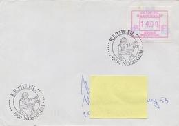 BELGIË/BELGIQUE :1990: Illustrated Date Cancellation On Travelled Cover : TEXTILE,KANT,DENTELLES,LACES,KETHEFIL NOSSEGEM