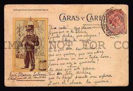 1890 ARGENTINA POSTCARD CARTOON MILITARY PARAGUAY WAR GARMENIDA CARAS Y CARETAS - Zonder Classificatie