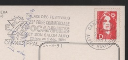 CACHET PUBLICITÉ CANNES SALON AUTO 1991 - CARTE POSTALE TIMBRE - POSTCARD POSTMARK ADVERT ADVERTISING CARS CAR VOITURES - Publicités