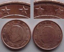 N. 53 ERRORE EURO !!! 1 CT. 1999 BELGIO VARIANTE STELLE !!! - Errores Y Curiosidades