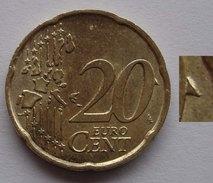 N. 60 ERRORE EURO !!! 20 CT. 2002 ITALIA ECCEDENZA DI METALLO SUL VALORE !! RARO - Errores Y Curiosidades
