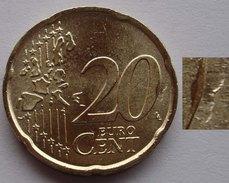 N. 61 ERRORE EURO !!! 20 CT. 2002 FDC ITALIA INCAVATURA IN INCUSO !!! - Errores Y Curiosidades