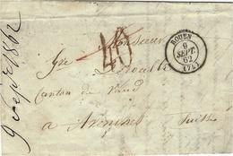 1862- Lettre En Port Du De ROUEN Pour La Suisse ( Canton De Vaud - Taxe Tampon 10 Rouge  Barrée ( ? ) - Marcophilie (Lettres)
