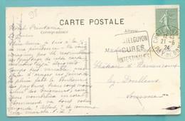 M12 : DAGUIN TEXTE  A GAUCHE  CHATELGUYON 21.6.1924 SUR SEMEUSE LIGNEE 15 C VERT GRIS 1.5 - Postmark Collection (Covers)