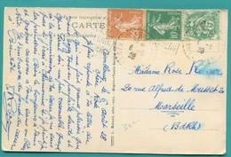 """M9 : 1928 CONCORDANCE 2 X DAGUIN TEXTE GAUCHE """" COMBLOUX """"  SUR SEMEUSE 25 C +  10 C + BLANC 5C   SUR CP COMBLOUX - Postmark Collection (Covers)"""
