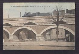 CPA 69 - VILLEFRANCHE - Ponts Du P.-L.-M. Et Du C.F.B. - TB PLAN TRAIN Sur Pont LOCOMOTIVE - Villefranche-sur-Saone