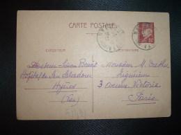 CP ENTIER PETAIN 80c OBL.17-10-41 HYERES VAR (83) DR SIMONE BENOIT HOPITAL DE SAN SALVADOUR à DUTHU BOIS-COLOMBES (92) - Marcophilie (Lettres)