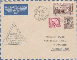INDOCHINE OUVERTURE DU TRAFIC POSTAL AERIEN AIR FRANCE HANOI -HONGKONG 5/10/38- TDA 173 - Covers & Documents