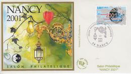 Enveloppe  FDC  Bloc  CNEP  Salon  Philatélique  De   Printemps   NANCY   2001