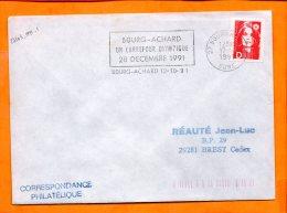 EURE, Bourg Achard, Flamme à Texte, Un Carrefour Olympique 28 Decembre 1991 - Marcophilie (Lettres)
