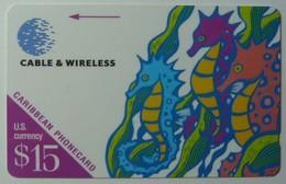CARIBBEAN GENERAL - Cable & Wireless - $15 - Sea Horse - Mint - Rare Control - Antillen (Overige)