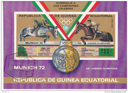 72103 Guinea Equatorial 1972 XX  Olimpiadi Monaco Munich Piero E Raimondo D ´ Inzeo Vincitori ORO E Argento Equitazione - Guinea Equatoriale