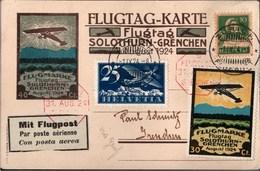 ! FLUGTAG Solothurn-Grenchen Suisse, Schweiz 1924 - Avion Aviation Flugpost Poste Aérienne, Flugmarke, Via Genf, Geneve
