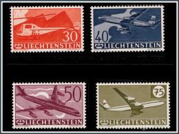 Liechtenstein PA 0034/37**  30è Anniverssaire Du Timbre Aérien  MNH