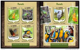 SIERRA LEONE 2016 - Parrots, M/S + S/S. Official Issue.