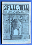 Fascismo - Gerarchia - Rivista Politica - B. Mussolini - Anno I - N° 2 - Febbraio 1922 - Storia, Biografie, Filosofia
