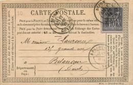 Précurseur, Carte Postale N° 5, Affranchie 10c Sage, Cachets Besançon Et Dijon 1878 - 1849-1876: Klassik