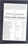 ANZEGEM - ANSEGHEM - Voor Hare Dooden St. Jan  1931-1932 - Devotion Images
