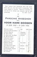 ANZEGEM - ANSEGHEM - Voor Hare Dooden St. Jan  -1932-1933 - Devotion Images