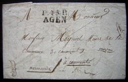 1820 Marque P45P AGEN (Lot Et Garonne) Sur Une Lettre Pour Le Maire De Caumont (port Payé) - Postmark Collection (Covers)
