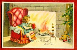 ESTONIA CHRISTMAS GIRL TOYS DOLL AND TEDDY BEAR VINTAGE POSTCARD 4916 - Other