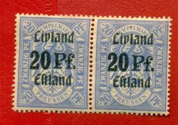 LATVIA RUSSIA GERMANY 20 Pf. PAIR REVENUE STAMP MINT 119 - 1916-19 Occupation: Germany