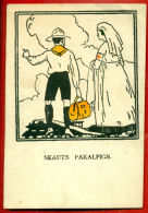 LATVIA LETTLAND BOY SCOUT AND RED CROSS NURSE VINTAGE POSTCARD 105 - Red Cross
