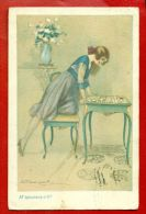 ART DECO LADY AND Playing Cards VINTAGE POSTCARD USED 629 - Other Illustrators