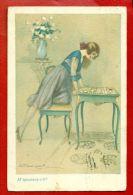 ART DECO LADY AND Playing Cards VINTAGE POSTCARD USED 629 - Künstlerkarten