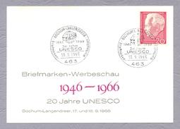Germany, Deutschland, 1966, 20 Jahre UNESCO Briefmarken Werbeschau Ganzsache Bochum Langendreer Sonderstempel