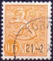 Finland 1963 0.15mk Leeuw Geel Type II GB-USED
