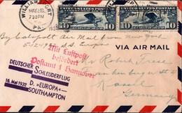 ! 1932 Cover, Katapultflug, Deutscher Schleuderflug Vom Dampfer Europa, Air Mail, Avion, USA, Williamsport, Kassel - Deutschland