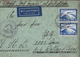 ! 1929 LZ 127 Luftschiff Graf Zeppelin Amerikafahrt, Bergedorf, Reinbek, Friedrichshafen, Dallas, USA, Mi. Nr. 423 MeF