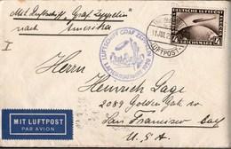 ! 1929 LZ 127 Luftschiff Graf Zeppelin Amerikafahrt, Lemwerder, Friedrichshafen, San Francisco, USA, Mi. Nr. 424