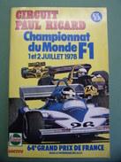 Sport Automobiles F1 Programme Officiel CIRCUIT PAUL RICARD Championnat Du Monde F1 - Ligier Williams Renault McLaren - Automobile - F1