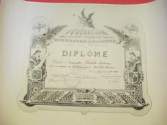 Diplôme/Dactylographie/40 Mots Minutes/Fédération Des Soc. Sténographiques Normandes Et Picardes/GRAND/Rouen/1938 DIP182 - Diplomi E Pagelle