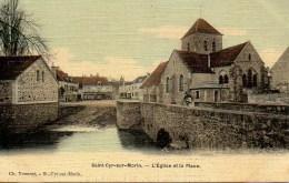 77 St-CYR-sur-MORIN  L'Eglise Et La Place - Sonstige Gemeinden
