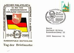 NPU 29o/46b Verband Niedersächsischer Philatelisten Vereine E.V. Im BDPh, 40 Jahre 1949-1989 BRD - Tag Der Briefmarke, H - Sobres Privados - Usados