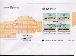 Azoren FDC Block 8 CEPT Architektur Used Gestempelt