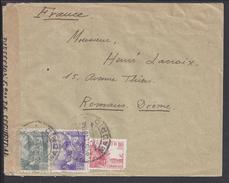 ESPAGNE - 1940 - Affranchissement Tricolore Sur Enveloppe De Madrid Vers Romans Avec Contrôle De Censure Nationaliste - - Marcas De Censura Nacional