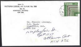 """CANADA - 1961 - Enveloppe Entier Postal 15 Ct """" Loge Maçonnique Nord Américaine """" De Kirkfield Vers Ottawa - - 1953-.... Elizabeth II"""