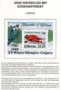 Olympia Calgary 1988 Liberia Block 112 G-Blatt ** 4€ Gold Rennrodeln Germany Sport Ss Bloc Olympics Sheet Bf Africa