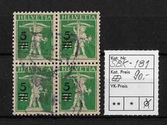 1909-1933 TELLKNABE MIT ARMBRUST→ SBK-181im Viererblock - Gebraucht