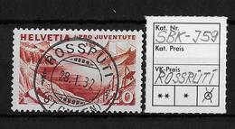 WOHLTÄTIGKEITSMARKEN Pro Juventute   → SBK-J59, ROSSRÜTI 28.I.32  ►RRR◄