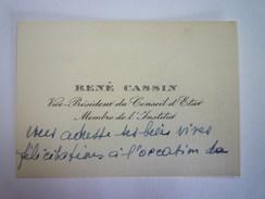 CARTE De VISITE  De  René  CASSIN  Vice-Président Du Conseil D'ETAT  Membre De L'INSTITUT   - Cartes De Visite