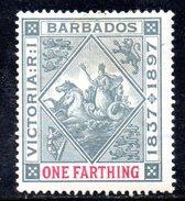 Y1962 - BARBADOS 1892  , Gibbons 105*.  Fil CA - Barbados (...-1966)