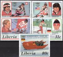 Olympiade Calgary 1988 Liberia 1355/9 ** 6€ Biathlon Slalom Bob Abfahrt-Ski Sport S/s Winner-olympics Set Bf Africa