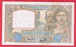 20 Francs Science Et Travail  -  22/8/1940  --  Attention Billet Scotché Sur Toute La Longueur - 1871-1952 Circulated During XXth